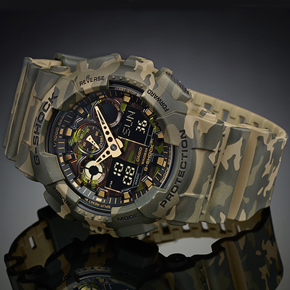 G shock ga 100cm 5aer watch camouflage for Watches g shock