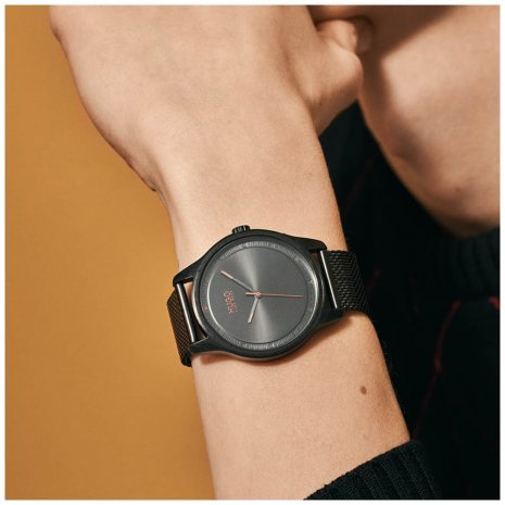 Minimalist mens watch with mesh bracelet Fall Winter Collection Hugo Boss