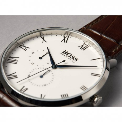 Silver & Brown Quartz Watch with Date Fall Winter Collection Hugo BOSS