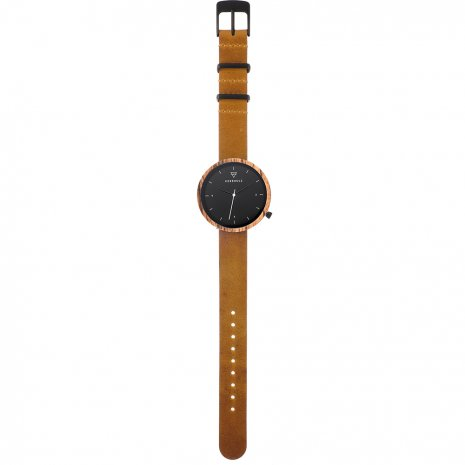 Black ladies watch with striped wooden case and free extra strap  Kerbholz