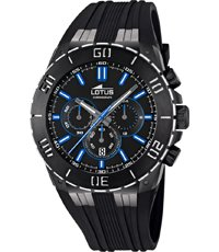 5aacf7876 Modern black sports chrono with silicone strap