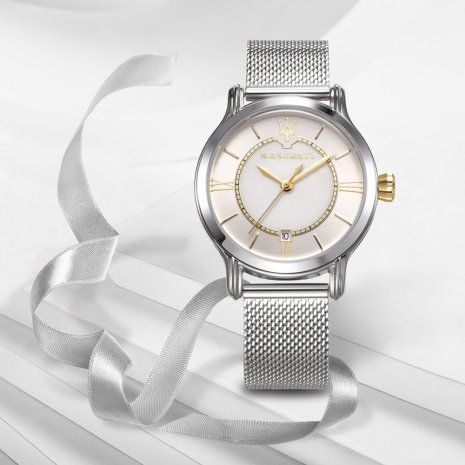 Silver Ladies Quartz Watch with Date Fall Winter Collection Maserati