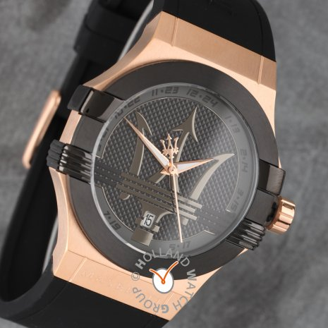Black & Rose Gold Gents Quartz watch with Date Spring Summer Collection Maserati