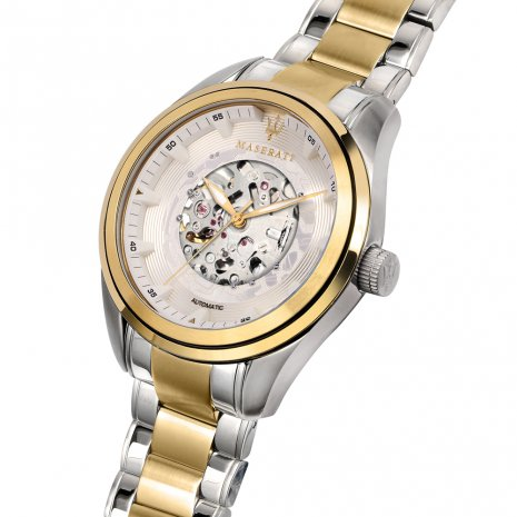 Two-Tone Gold Mechanical Skeleton Watch Spring Summer Collection Maserati