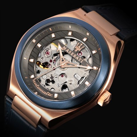 Blue & rose gold automatic skeleton watch Spring Summer Collection Maserati