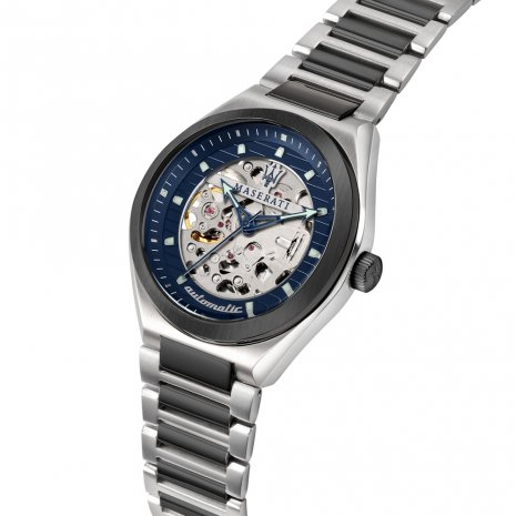 Silver Mechanical Skeleton Watch Spring Summer Collection Maserati