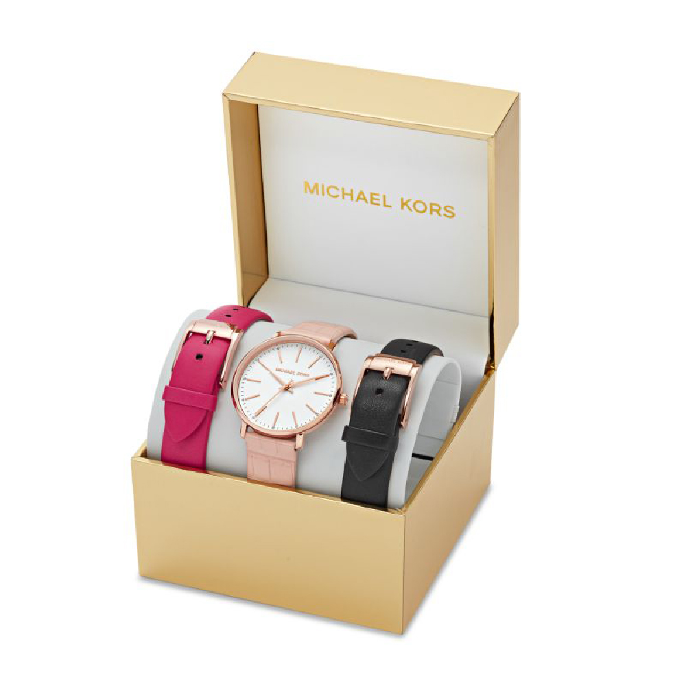 48fe8d49f5f297 Gift Set Ladies Watch with 2 extra Leather Straps Fall Winter Collection Michael  Kors