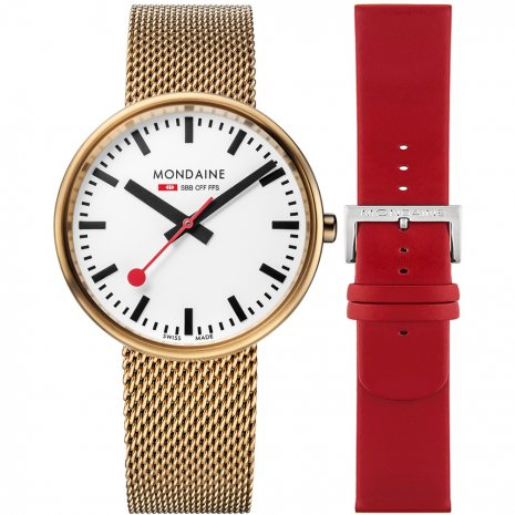 Swiss railway watch with extra Red Leather Strap Fall Winter Collection Mondaine