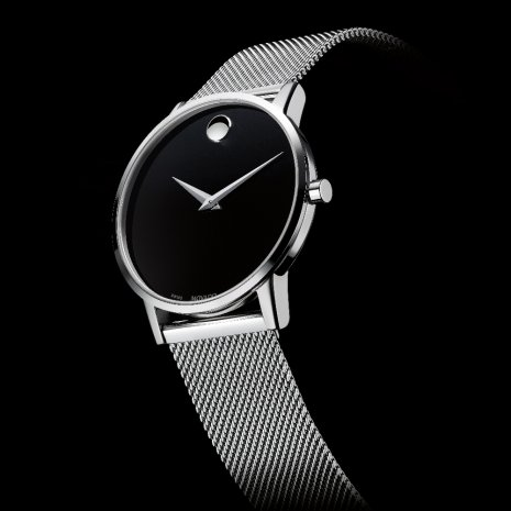 Black Gents Watch with Concave Dot Collection Automne-Hiver Movado