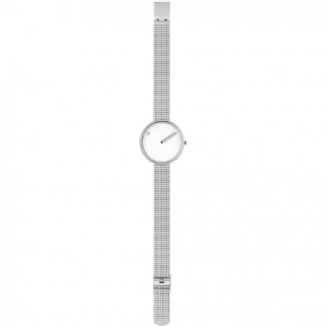 Silver design watch with milanese bracelet Spring Summer Collection Picto