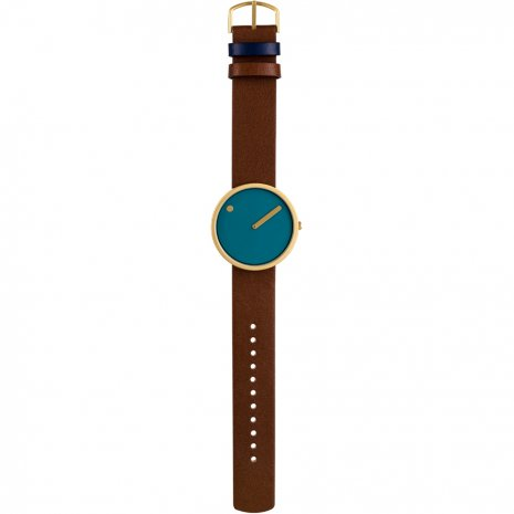 Design watch with brown leather strap and blue dial Spring Summer Collection Picto