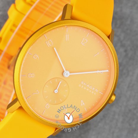 Yellow watch with small second dial Fall Winter Collection Skagen