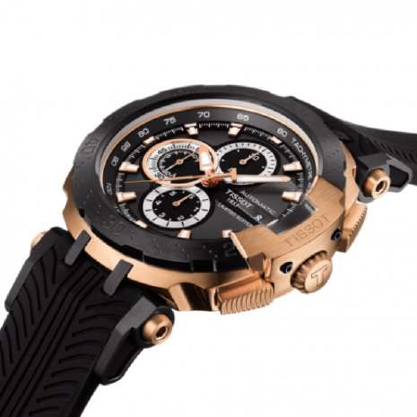 Rose Gold Chronograph in display case Spring Summer Collection Tissot